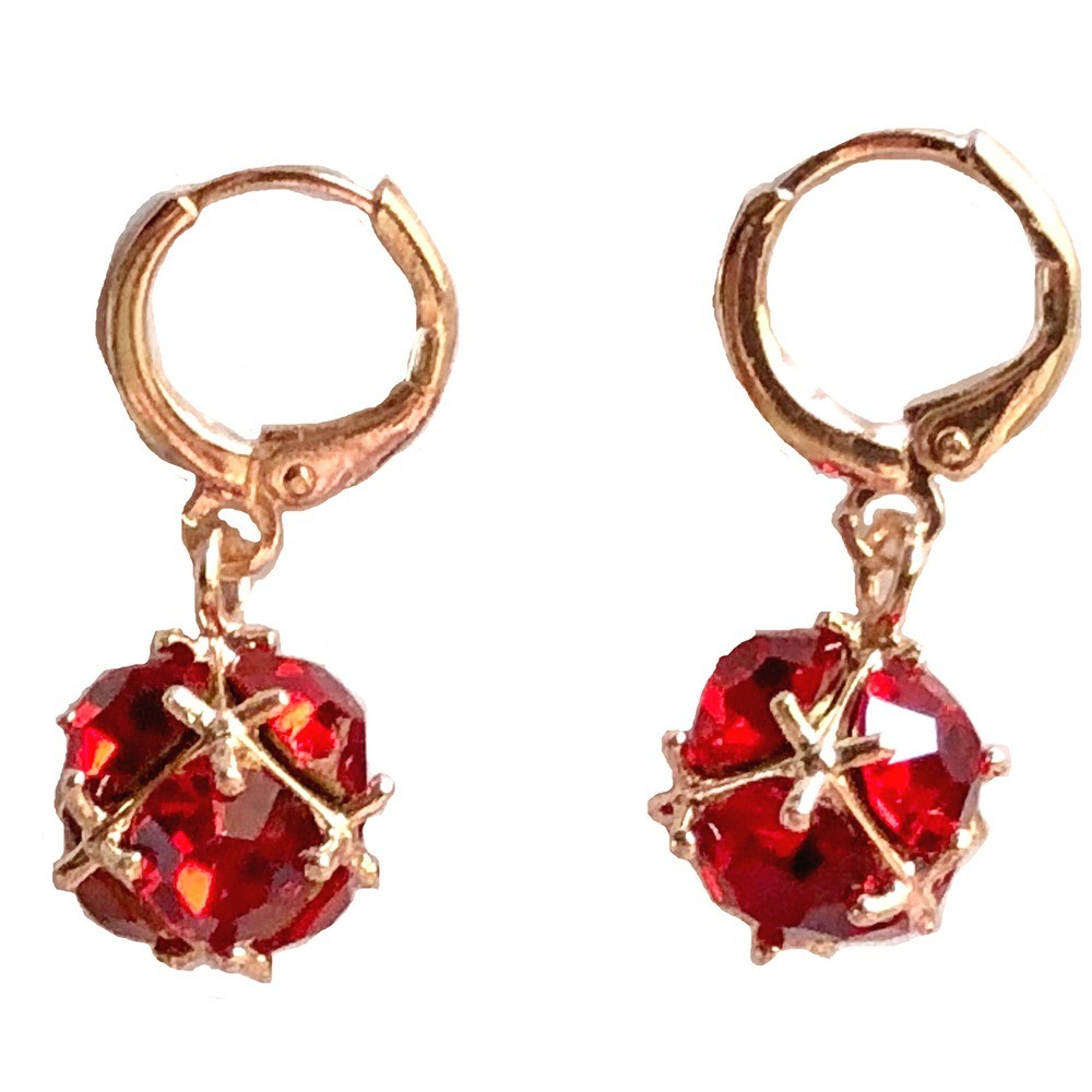 Gold Plated Earrings - Red Stones