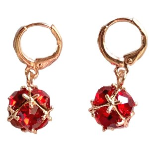 Gold Plated Earrings – Red Stones