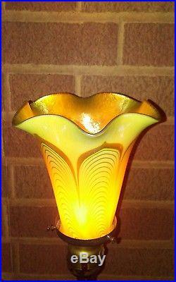 Antique Quezal Pulled Feathertulip Gold Aurene Interior