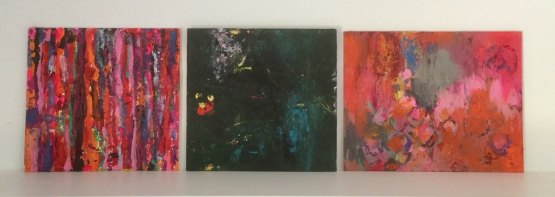 """""""Red Stripes"""", """"Light in the dark"""" and """"Tender grey"""" all 20x20 or 20x30 cm Acrylic on wood"""
