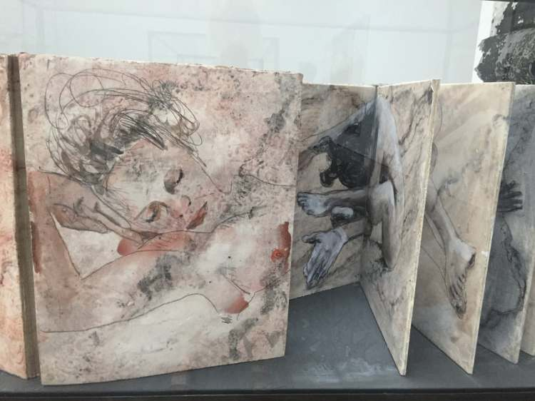 Huge books with watercolour paintings