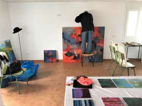 Hanging the paintings