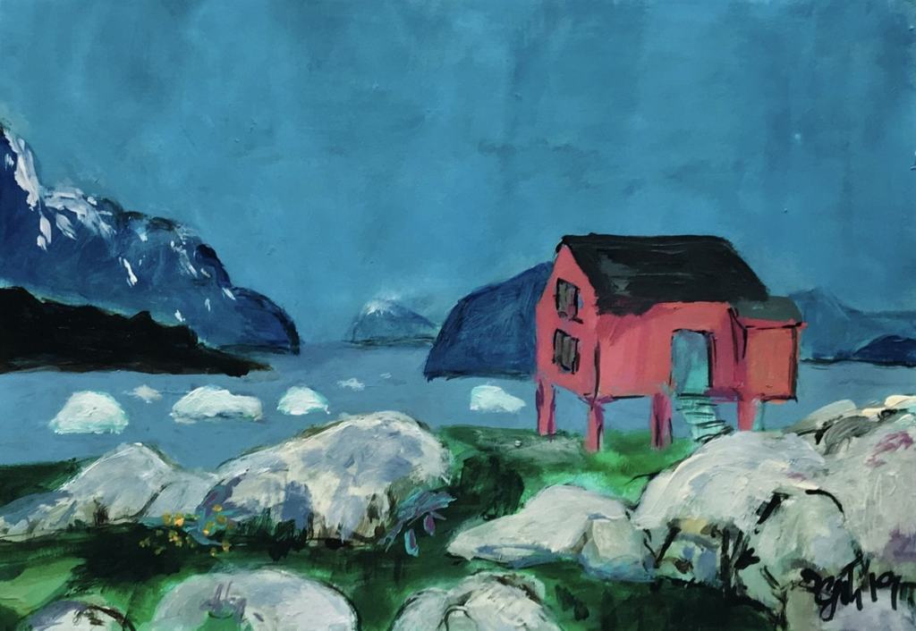 Iceberg and the rocky landscape of Greenland with a little red house