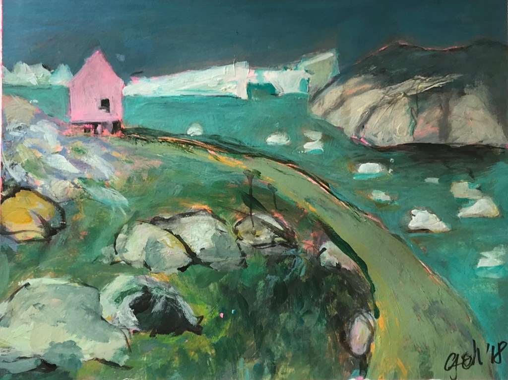 View  into a fjord in turquoise green with a little pink house