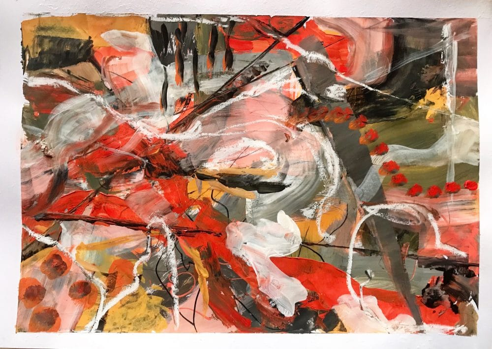A harmonic red color painting under 200 €