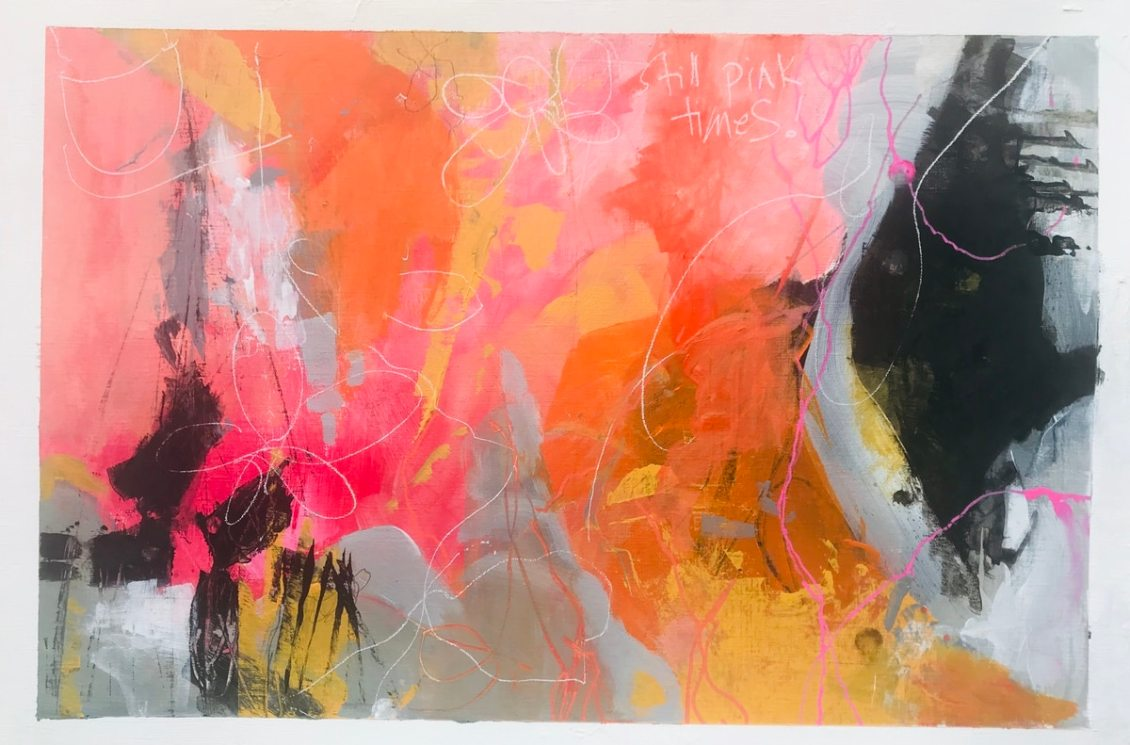 A pink-orange-grey painting with some dominant black