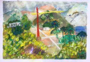 This Artist Support Pledge painting shows a garden with a crane