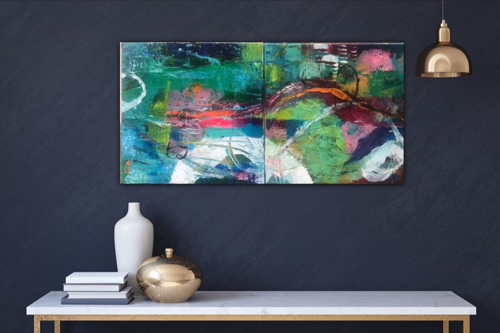 Small vibrant green and red abstract painting decorated above a shelf