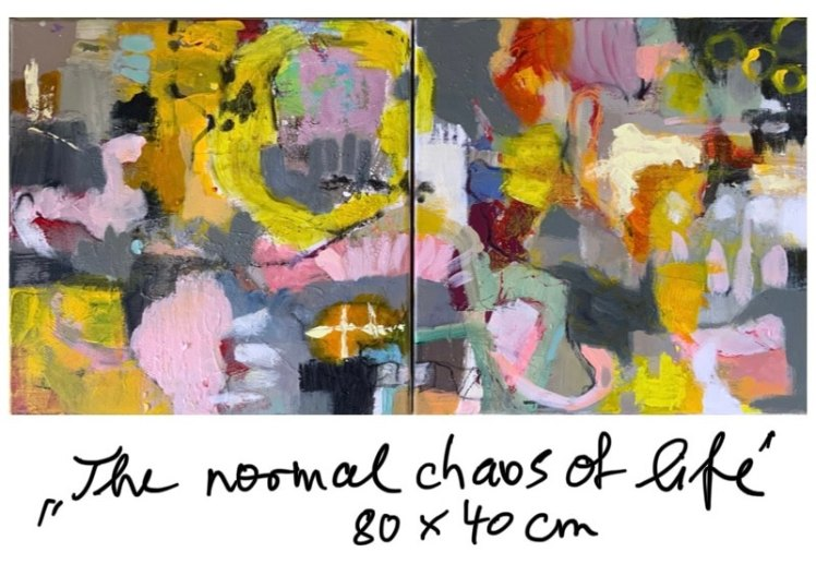"Painting ""The normal chaos of life"" diptych"