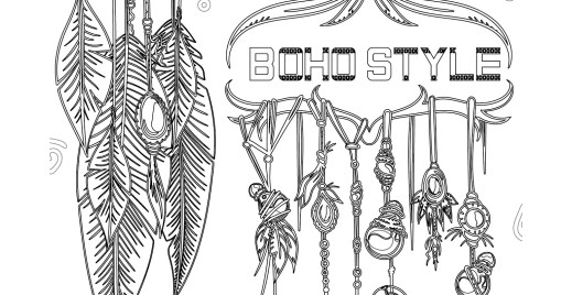 Coloriage gratuit, dreamcatcher mode boho 6 mai