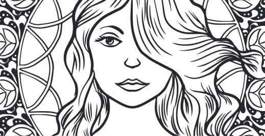 Coloriage gratuit, femme sur vitrail