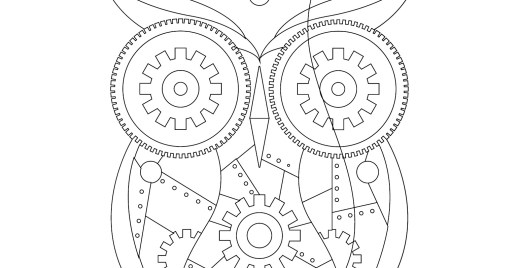 Coloriage gratuit, hiboux mécanique steampunk