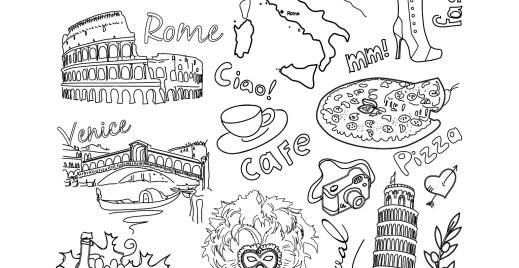 Coloriage gratuit, voyage Rome, Italie