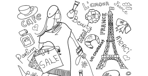 Coloriage gratuit, shopping Paris