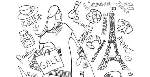 Coloriage gratuit, shopping Paris