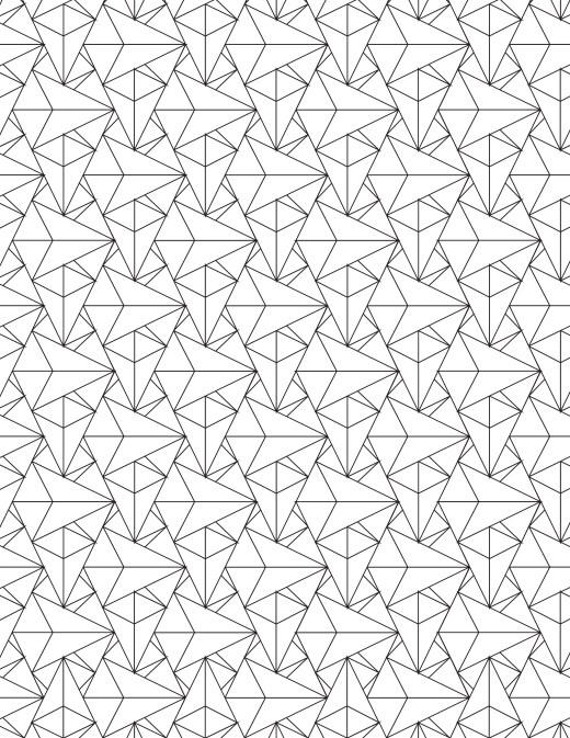 Coloriage gratuit, motif vitrail de triangles