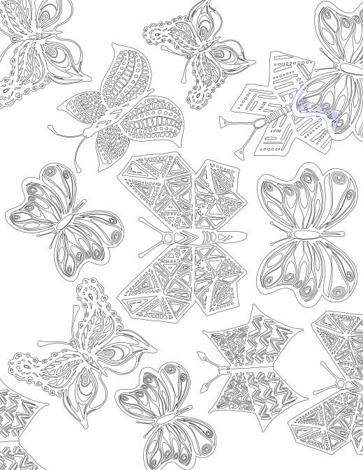 Coloriage gratuit, papillons de l'été