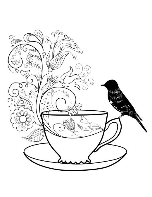 Coloriage gratuit, heure du thé oiseau