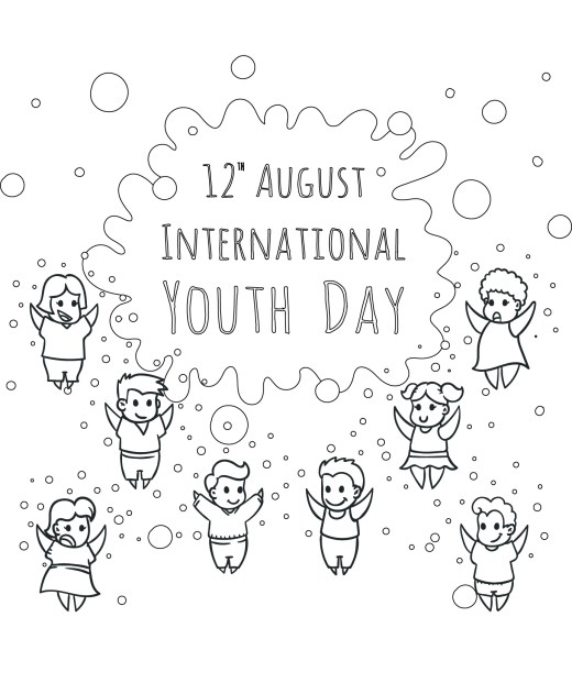 Coloriage gratuit, journée de la jeunesse