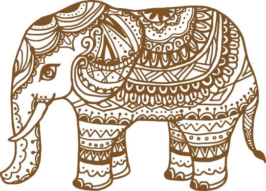 coloriage gratuit, Éléphant tattouage henna