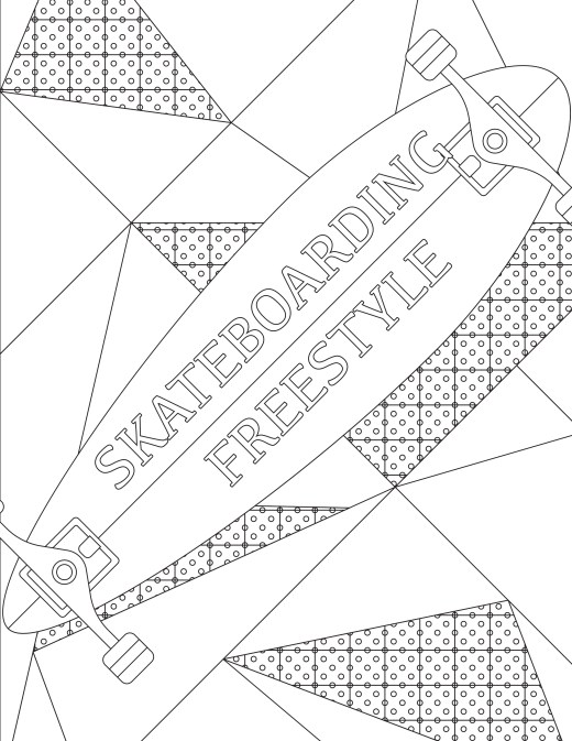 Coloriage gratuit, skateboard freestyle