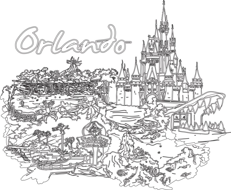 Coloriage gratuit pour adulte, voyage Orlando