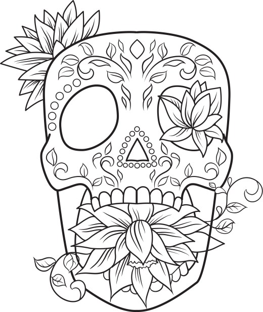 Coloriage adulte gratuit, lotus sugar skull