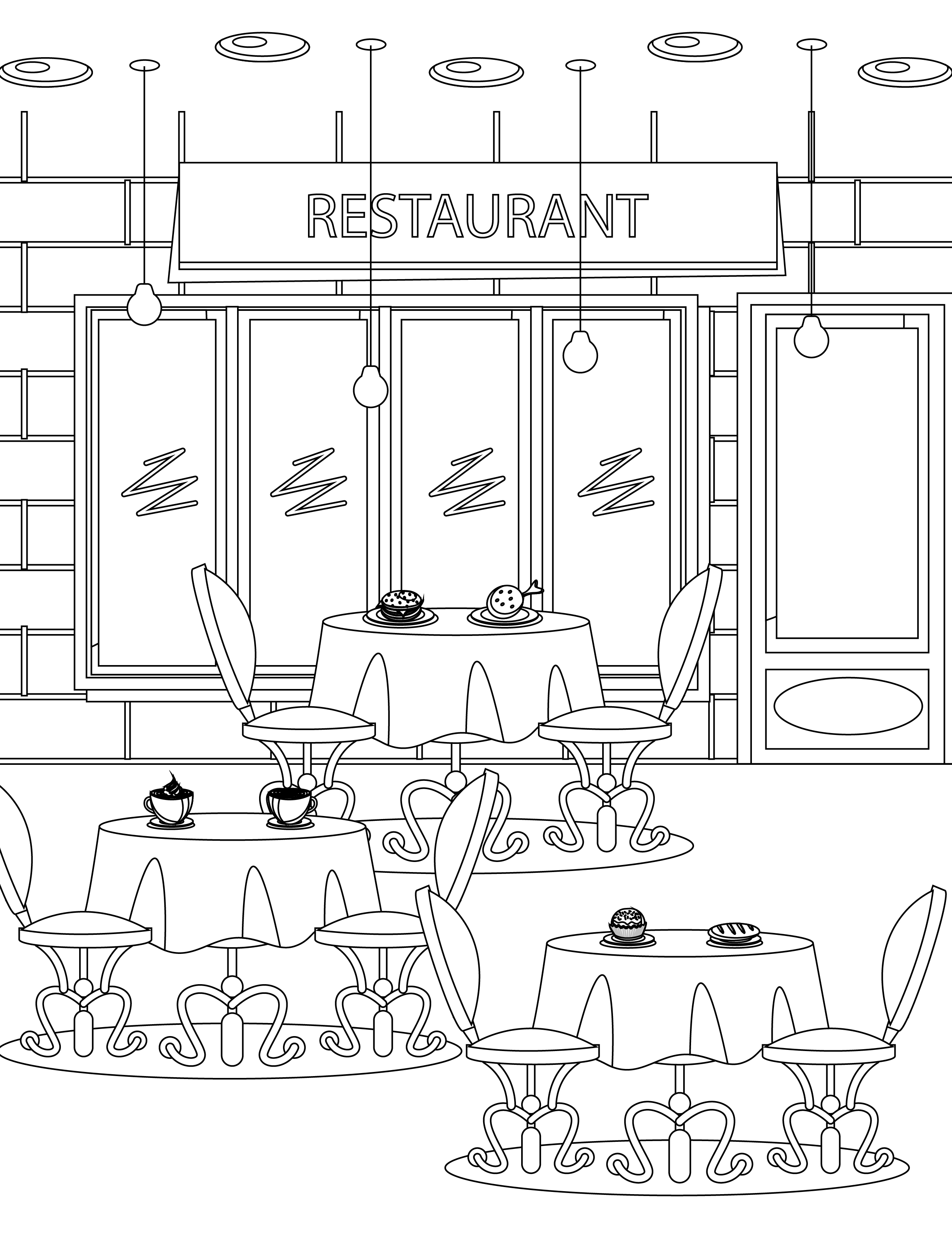 Resturant Coloring Page