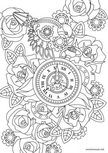 coloriage de oiseaux et fleurs steampunk