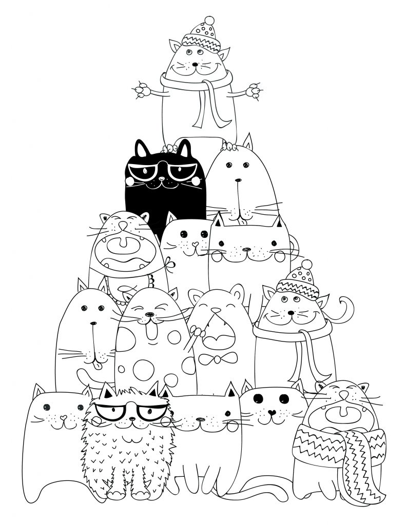 Coloriage Chat Cadeau.Dessin A Imprimer Pyramide Chat Coloriage Artherapie Ca