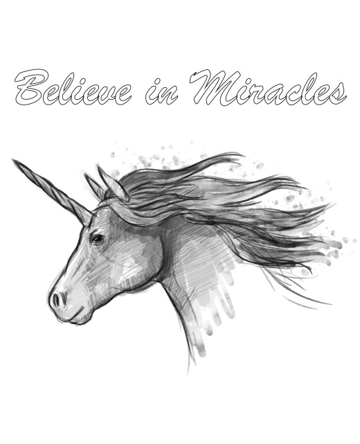 Image à colorier licorne believe in miracles