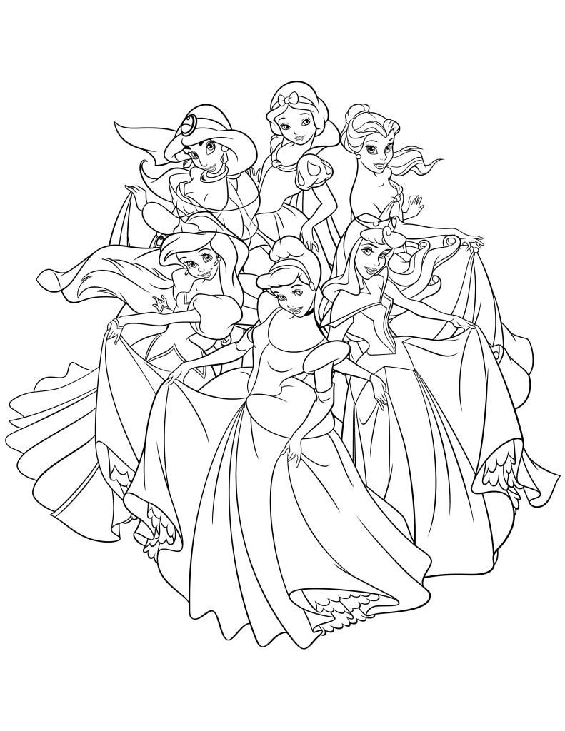 Coloriage de Disney princesse à imprimer