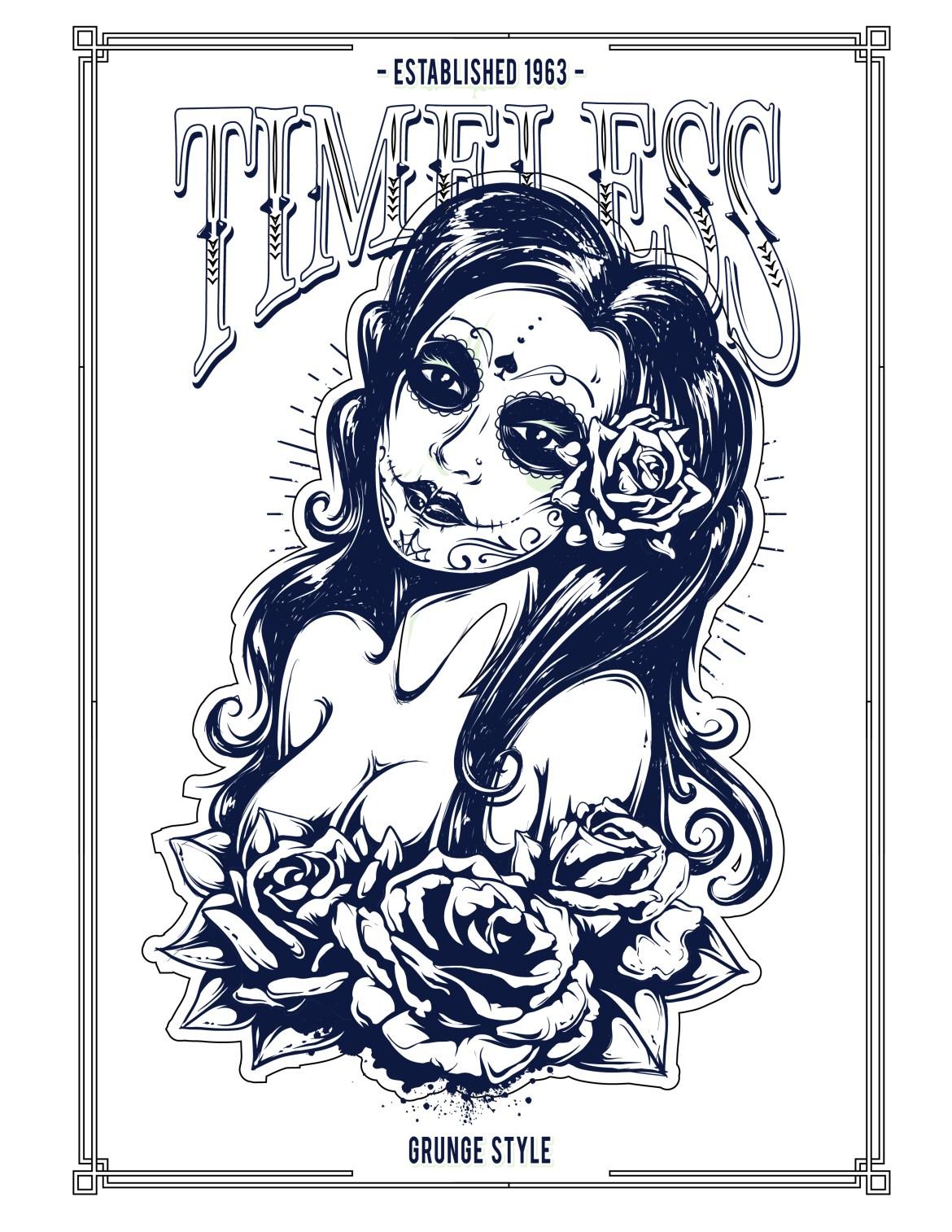 Femme grunge imprimer coloriage gratuit
