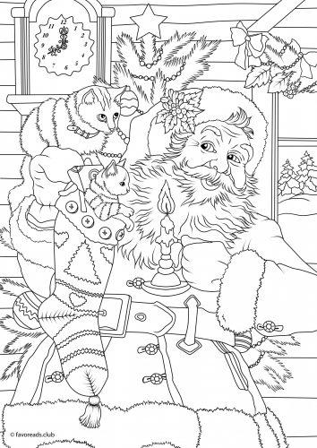 coloriage Père Noel avec chattons