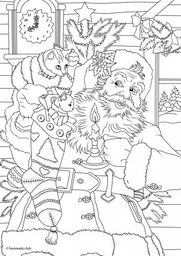 coloriage Père Noel avec chatons