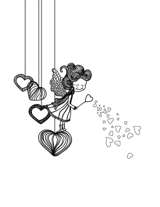 Fillette amoureuse dessin pour adulte St-Valentin
