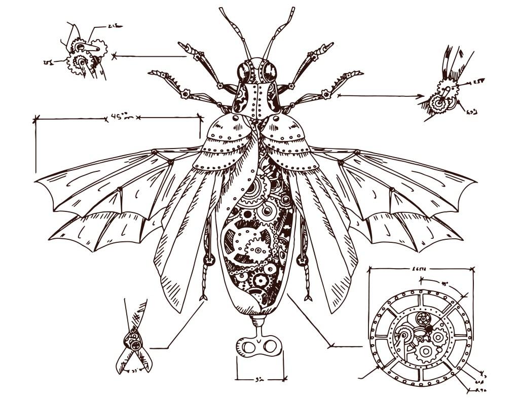 Coloriage abeille steampunk art work gratuit