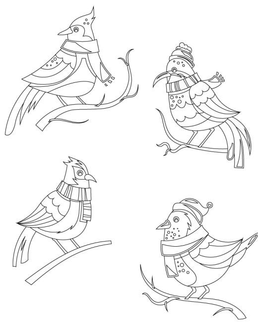 Coloriage à colorier gratuitement oiseaux hiver