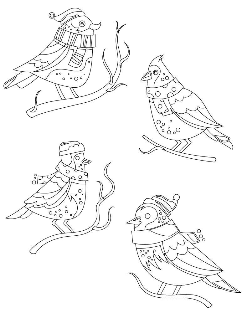 Dessin à Imprimer Gratuit Oiseaux Hiver Artherapie Ca
