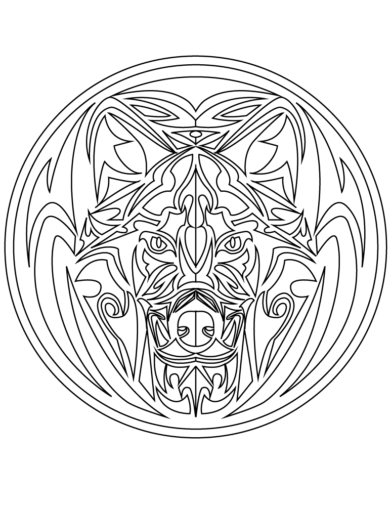 Mandala Tattoo Tribal Loup à Imprimer Gratuit Artherapie Ca