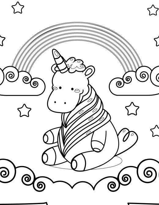 Adorable unicorne à imprimer et colorier