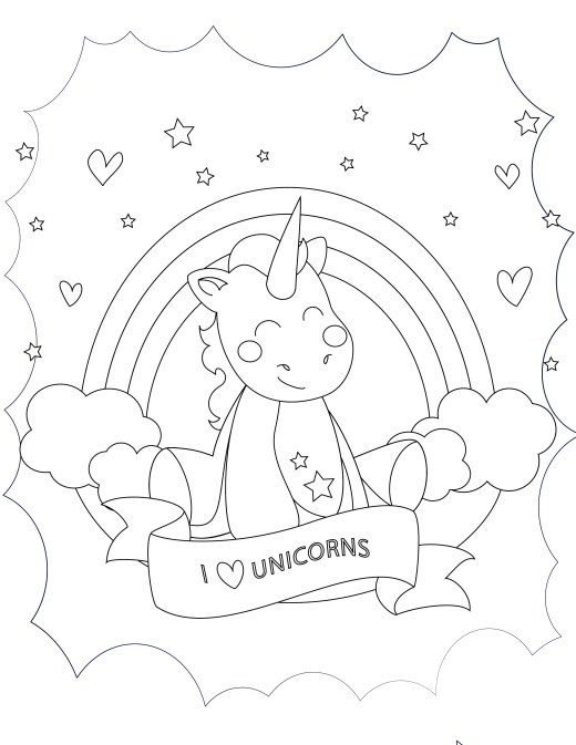 J aime les licornes à imprimer et colorier