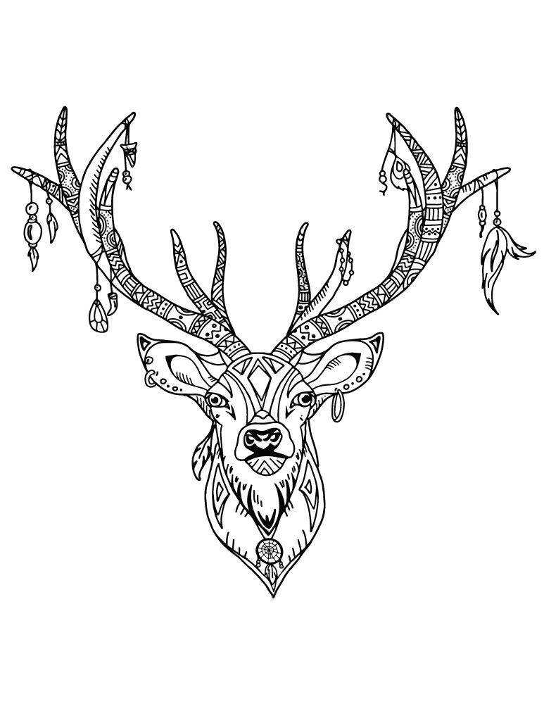 Image tribal t te de chevreuil colorier - Dessiner un cerf ...