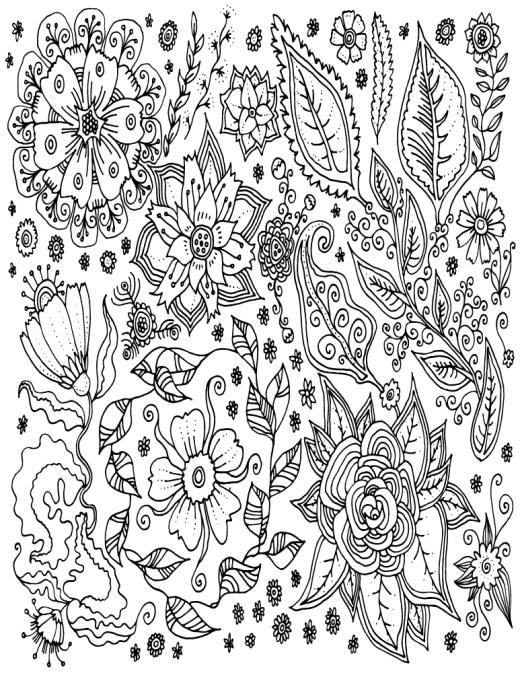Diverses fleurs doodle à imprimer et dessiner