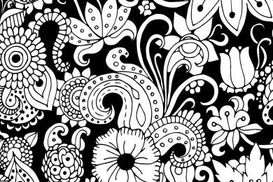 Fleurs doodle noir dessin à imprimer gratuit