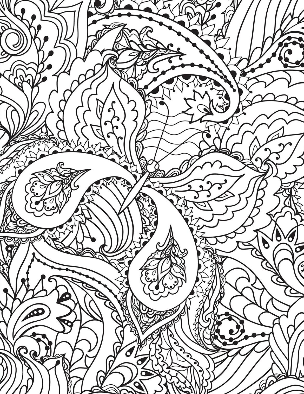 Coloriage doodle papillon très difficile à imprimer