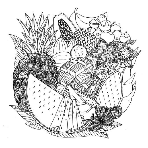 Bol de fruits à dessiner pour adulte de Chocobo