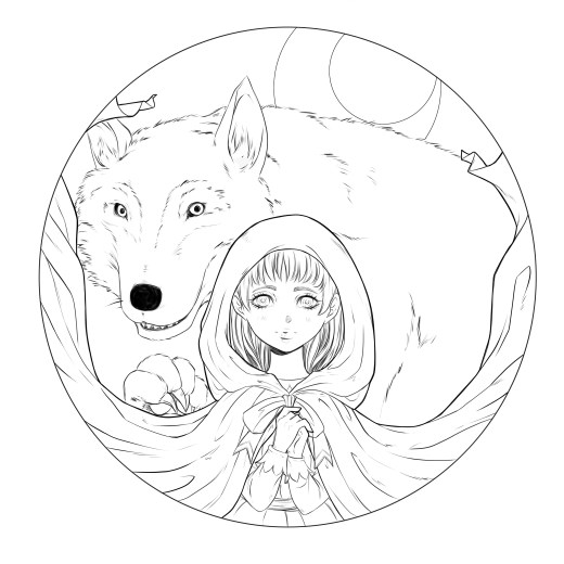 Chaperon rouge version à colorier par Dar-Chan