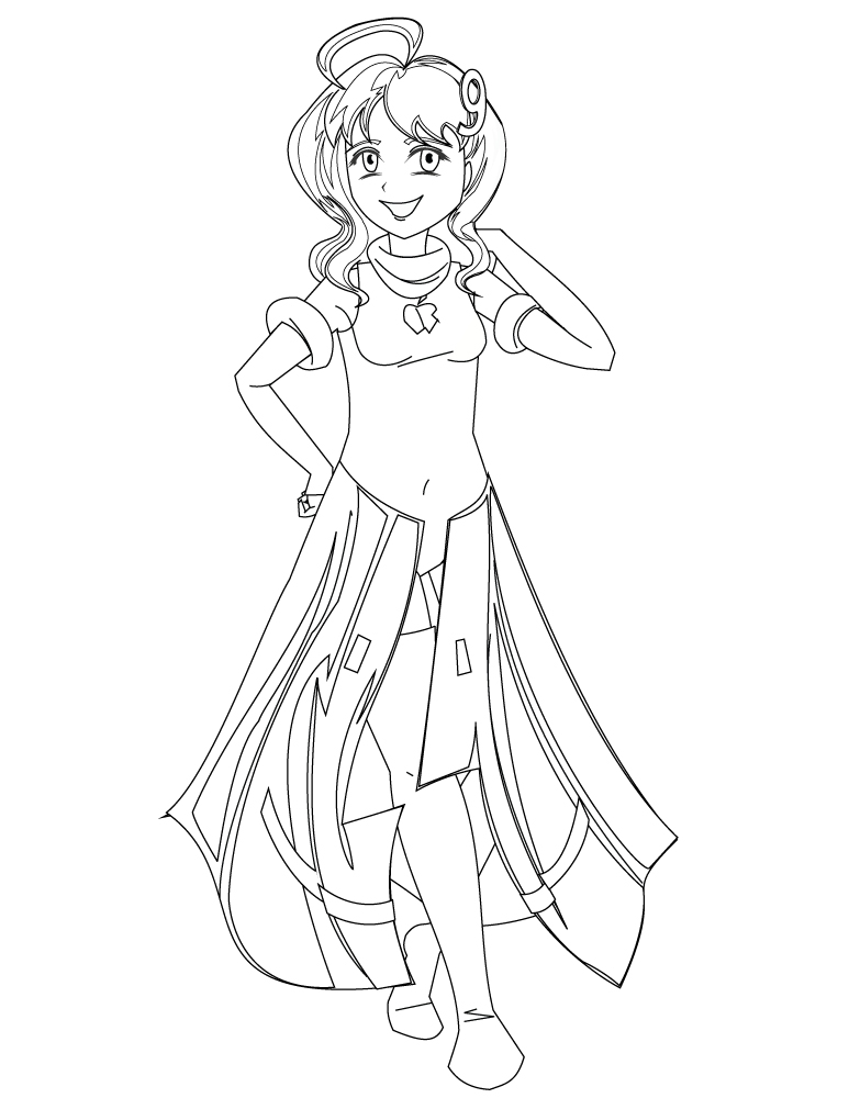 Personnage manga fillette mode coloriage adulte - Coloriage personnage ...