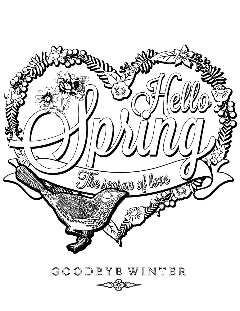 La joie du retour du printemps à colorier